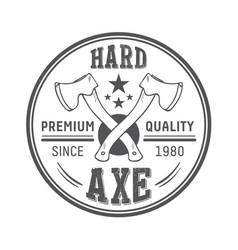 Lumberjack axes round logo template vector