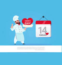 male cook holding cake for happy valentines day vector image