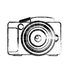 Monochrome sketch analog photo camera vector