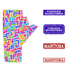 Mosaic map of manitoba province and scratched vector