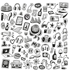 Music doodles vector image