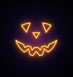 Neon scary pumpkin sign bright halloween vector