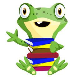 nerd bafrog carrying books on white background vector image