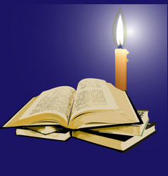 open old book with a candle in the night vector image