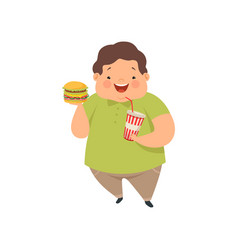 overweight boy with hamburger and soda drink cute vector image