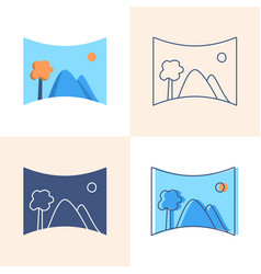 panoramic photo icon set in flat and line style vector image