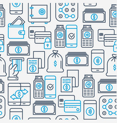 payment seamless pattern with thin line icons vector image