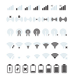 Phone mobile signal wifi and mobile status bar vector