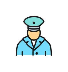railway worker train conductor subway flat color vector image