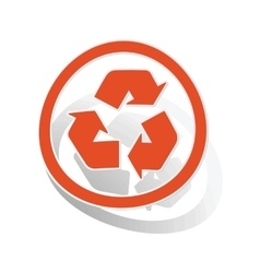 Recycling sign sticker orange vector