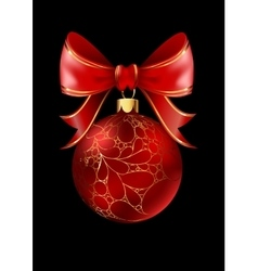 Red Christmas ball with a bow isolated on black vector