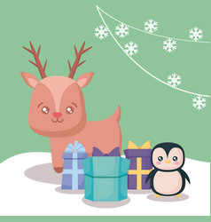 reindeer with penguin and gift boxes christmas vector image