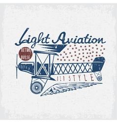 Retro aviation grunge design with airplane vector