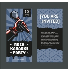 Rock party invitation Hand with a microphone vector image