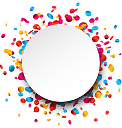 Round background with colorful confetti vector