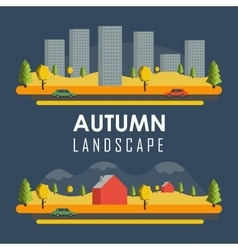 Rural autumn banners vector