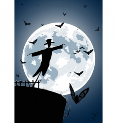 Scarecrow with full moon vector
