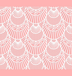 seamless decorative lace scales pattern on pink vector image