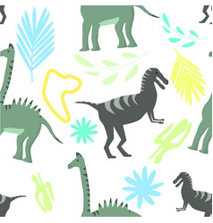 seamless pattern dinosaurs on colorful floral vector image