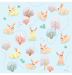 Seamless pattern of winter forest with rabbits vector image