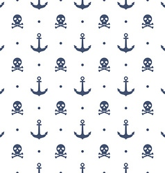Seamless pattern with anchors and skulls vector image