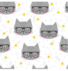 Seamless pattern with cute cartoon little cat vector