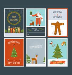 set christmas greeting cards vector image