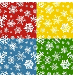 set four colour modern winter seamless patterns vector image