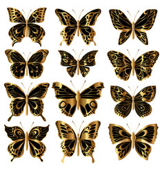 set of gold butterflies vector image
