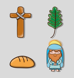 Set sunday palm branches to catholic religion vector