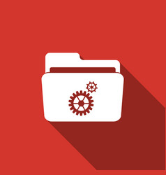 settings folder icon isolated with long shadow vector image