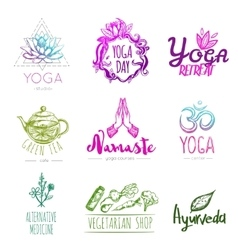 Sketch Yoga Logo Set vector image