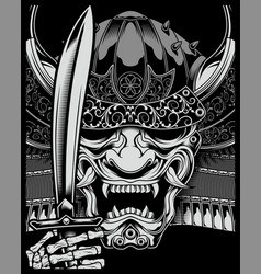 skull samurai vector image