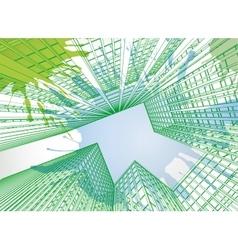 Skyscrapers watercolor landscape 01 A vector