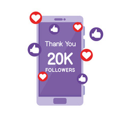 Smartphone with 20k followers vector