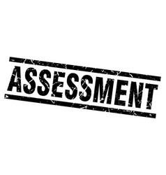 Square grunge black assessment stamp vector