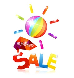 Summer Sale with Colorful Sun and Title on White vector image