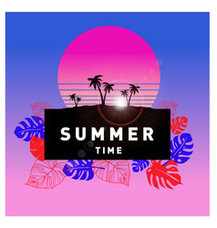 Summer tropical backgrounds set with palms sky vector