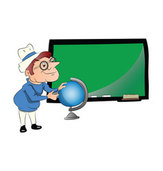 Teacher with globe in front of chalkboard vector