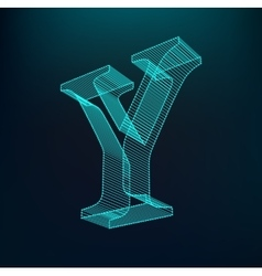 The letter Y Polygonal letter Low poly model vector image