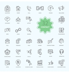 Thin lines icons of contact vector