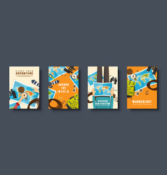 Travel and tourism flat style covers set world vector