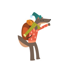 wolf travelling with backpack cute cartoon animal vector image