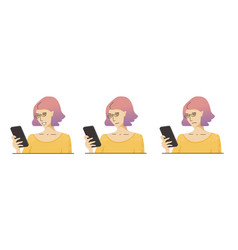 Woman with pink hair in yellow clothes and glasses vector