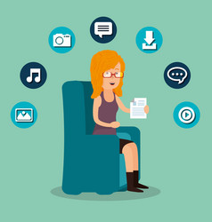 woman working with social media icon vector image