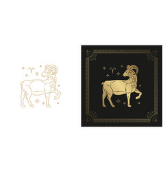 Zodiac aries horoscope sign line art silhouette vector