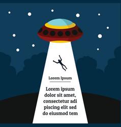 flat cartoon with ufo vector image vector image