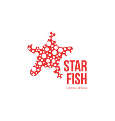 graphic silhouette starfish logo template summer vector image