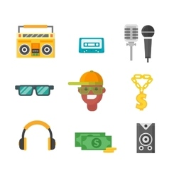 Hiphop music icons vector image vector image