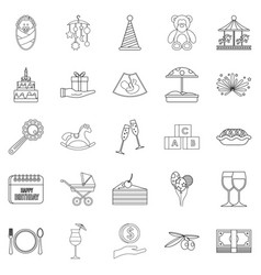 party for children icons set outline style vector image vector image